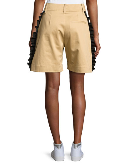 Mousa Ruffled Poplin Shorts, Khaki