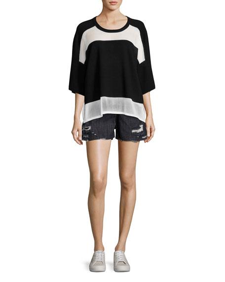 Lati Drop Shoulder Combo-Knit Sweater, Black