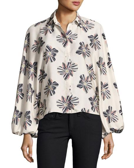 Keren Button-Front Floral Top, Floral