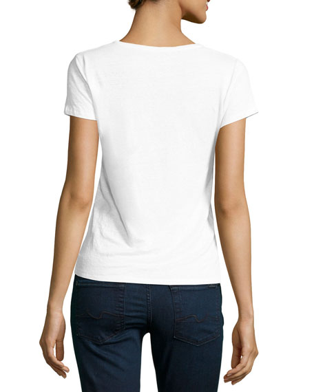 Stretch-Linen Short-Sleeve Crewneck T-Shirt