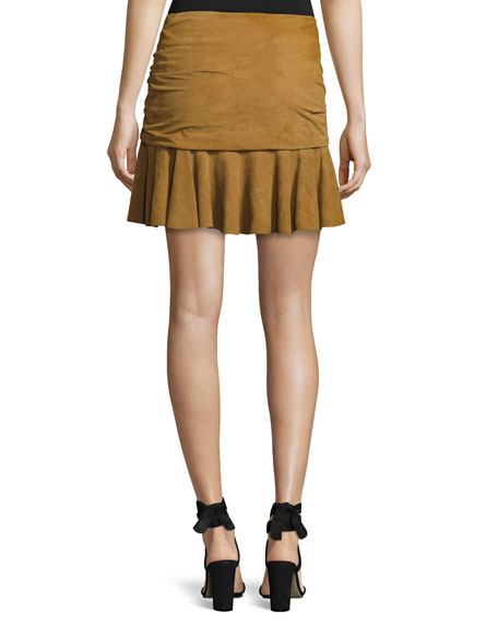 Veronica Beard Weston Ruched Leather Mini Skirt, Tan and Matching ...
