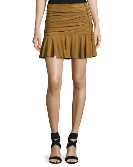 Weston Ruched Leather Mini Skirt, Tan