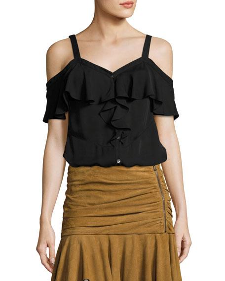 Frieda Cold-Shoulder Silk Top, Black