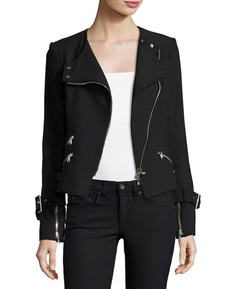 Veronica Beard Jordan Collarless Moto Jacket, Black