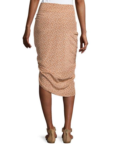 Hazel Side-Ruched Silk Ruffle Skirt