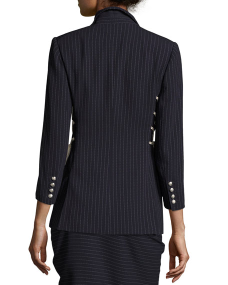 Taylor Striped Lace-Up Side Blazer, Navy