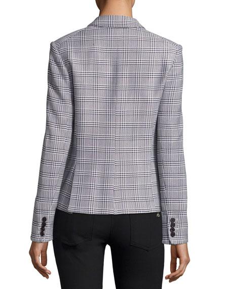 Leo Long-Sleeve Schoolboy Jacket, Blue Pattern