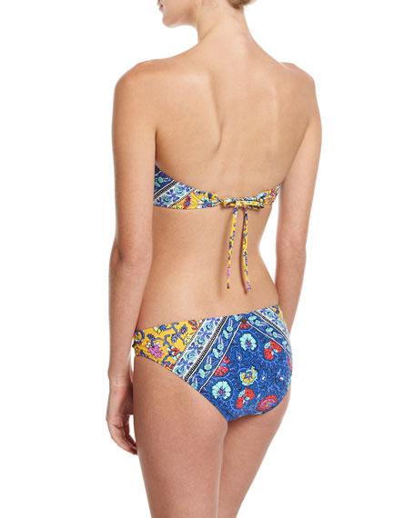 Woodstock Tease Bandeau Swim Top, Blue-Multi