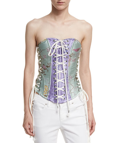Floral-Pattern Satin Lacing Corset