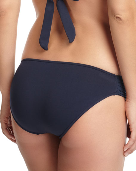 Ruched-Side Swim Bikini Bottom