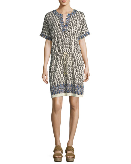 Amara Short-Sleeve Graphic-Print Cotton Dress