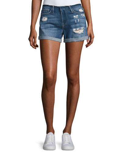 Le Cutoff Cuff Frayed Denim Shorts, Blue
