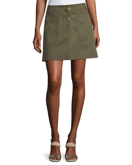 Luisa Zip-Front A-Line Skirt