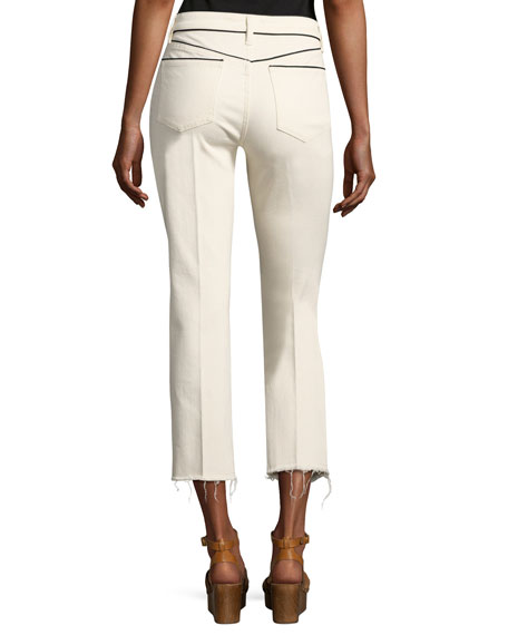 Sara Boot-Fit Cropped Jeans, Off White