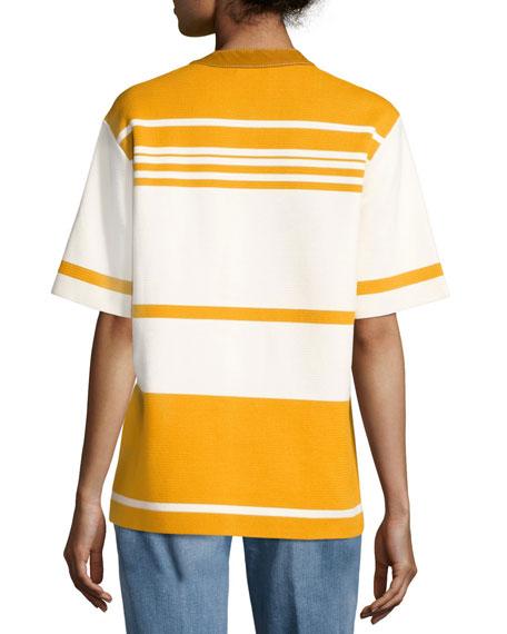 Krista Suede-Trim Striped Colorblock Tunic, Orange/White