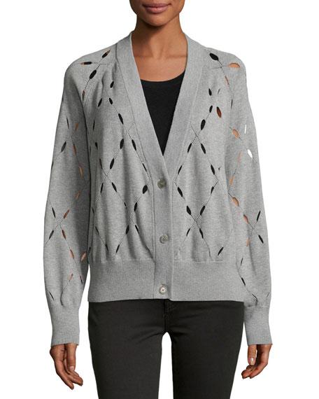 Argyle Stitch Cutout Cardigan Sweater, Gray