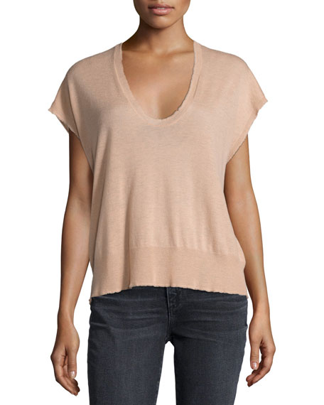 Short-Sleeve Scoop-Neck Pullover Tee, Blush