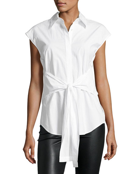 T by Alexander Wang Collared Tie-Front Poplin Shirt,