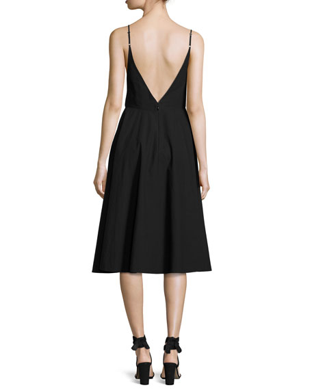 Sleeveless V-Neck Full Dress W/ Front Keyhole, Black