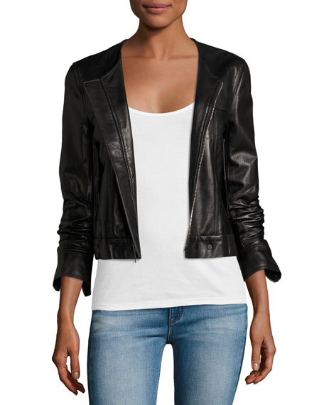 Onorelle Noble Cropped Leather Jacket, Black