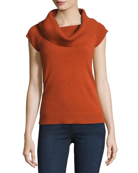 Theory Aflina Cowl-Neck Cashmere Sweater, Orange