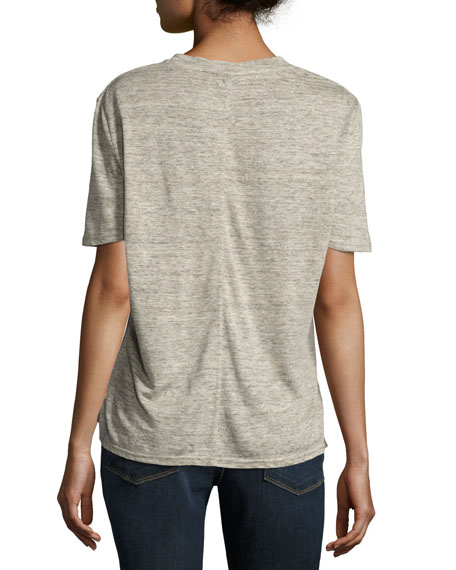 Scoop-Neck Short-Sleeve Linen Tee, Gray