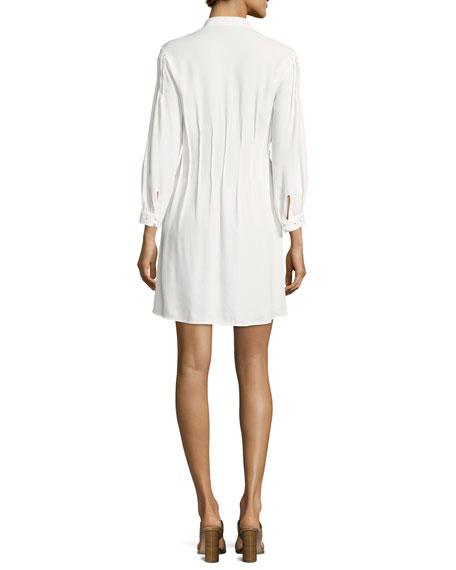 Eyelet Pleated Mini Dress, Off White