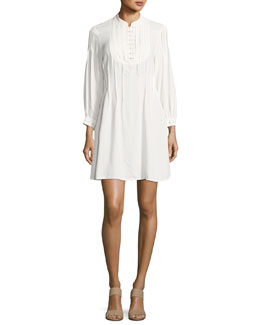 Eyelet Pleated Mini Dress, Off White
