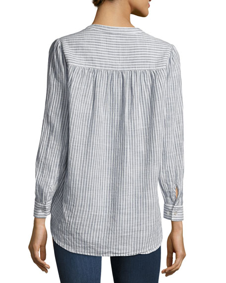 Simone Button-Front Striped Shirt, Blue