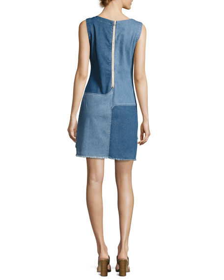 Indie Two-Tone Paneled Denim Dress, Blue