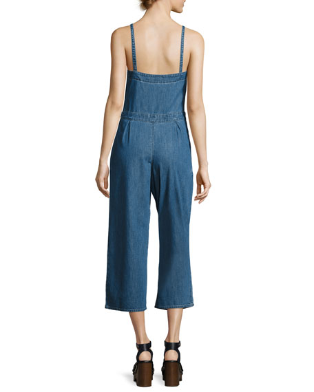 Giesele Wide-Leg Denim Jumpsuit, Blue
