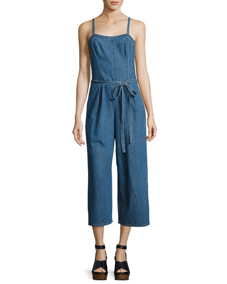 AG Giesele Wide-Leg Denim Jumpsuit, Blue