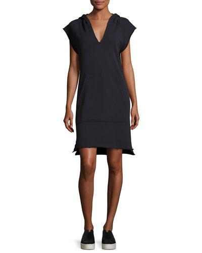 Denise V-Neck Hooded Shift Dress, Blue