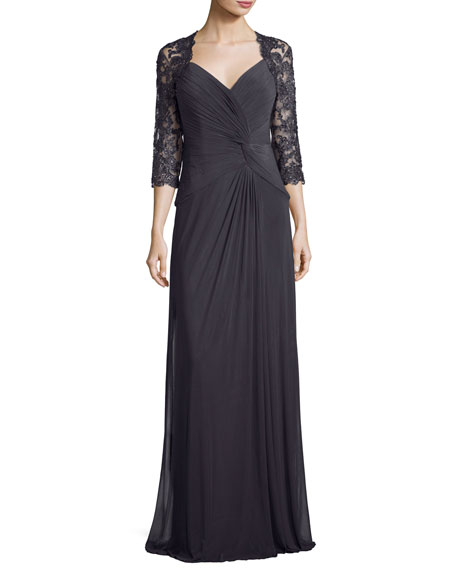 3/4-Sleeve Ruched Jersey Column Gown, Gunmetal