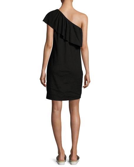 One-Shoulder Ruffle Mini Dress, Black