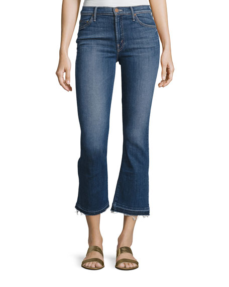 Mother Denim Insider Crop Undone-Hem Jeans, Indigo