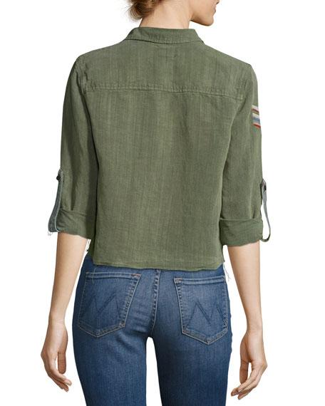 Trooper Crop Fray Top, Green