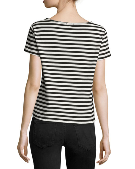 The Up Crop Goodie Goodie Striped Tee, Black White Multi