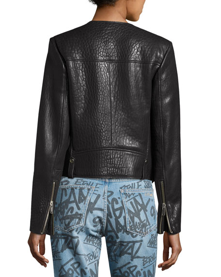 Kankara Textured Leather Jacket, Black