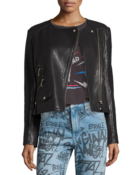 Kankara Textured Leather Jacket, Black