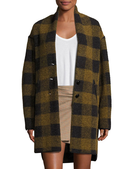 Etoile Isabel Marant Gino Oversized Plaid Wool Jacket,