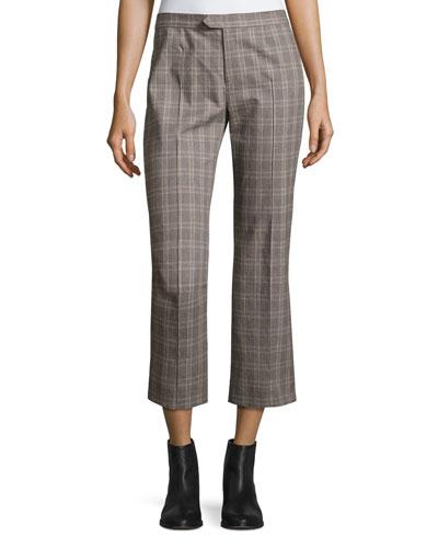 Nerys Plaid Crop Pants, Gray