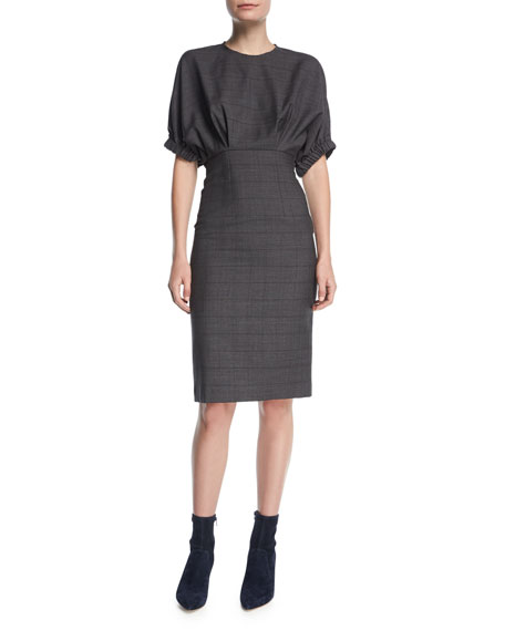 Neou Jewel-Neck Wool Sheath Dress