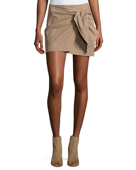 Ninon Plaid Mini Skirt, Beige