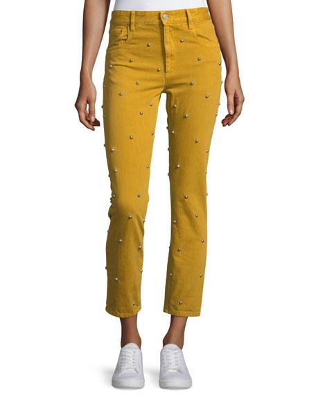 Etoile Isabel Marant Fliffa High-Rise Studded Straight Jeans