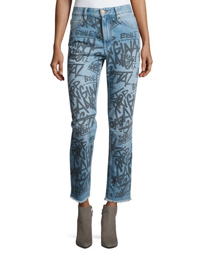 Clayton Graffiti High-Rise Straight Jeans, Blue