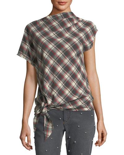 High-Neck Tie-Hem Plaid Wool-Blend Top