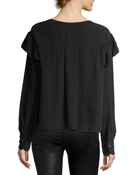 Welby V-Neck Ruffled Cotton Top