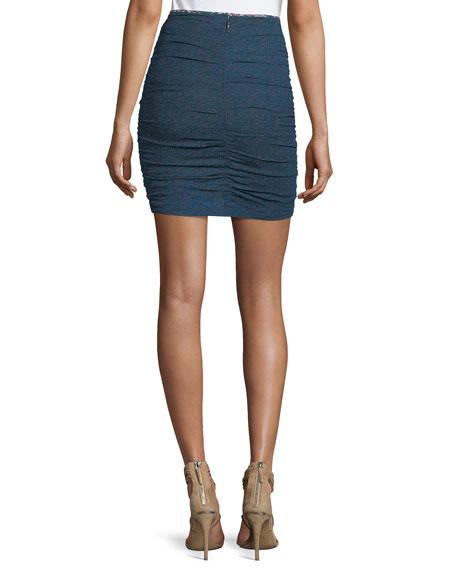Jipson High-Waist Ruched Printed Mini Skirt