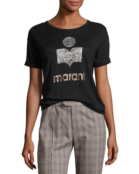Etoile Isabel Marant Koldi Crew Neck Short-Sleeve Tee,